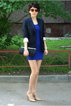 blue stella maccartney blazer - blue H&M dress - beige Jimmy Choo shoes - black