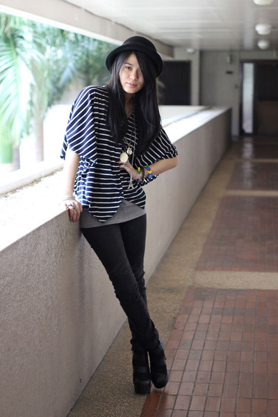black Charles & Keith boots - black bowler Forever 21 hat - navy striped From HK