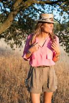 bdba blouse - BohoChic hat - Lacambra bag - bdba shorts