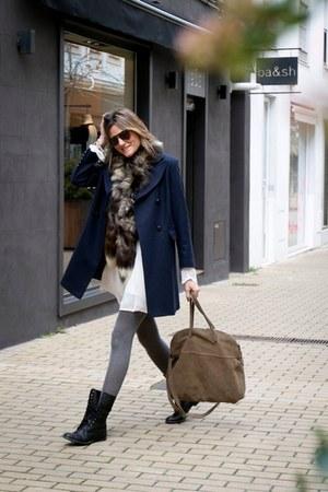 whiz dress - Zara boots - whiz coat - hakei bag - Tom Ford sunglasses