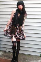 black Target dress - black vintage scarf - black Betsey Johnson socks