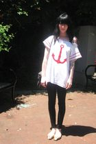 white vintage shirt - white vintage shoes - black Urban Outfitters pants - black