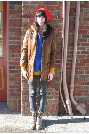 brown vintage coat - black Uniqlo jeans - blue vintage sweater