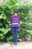 blue BDG jeans - purple vintage sweater - black Converse shoes