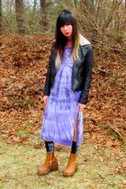 light purple tie dye vintage dress - tawny wedge thrifted boots