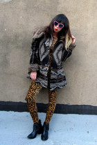 brown leopard vintage suit - black fringe Jeffrey Campbell boots