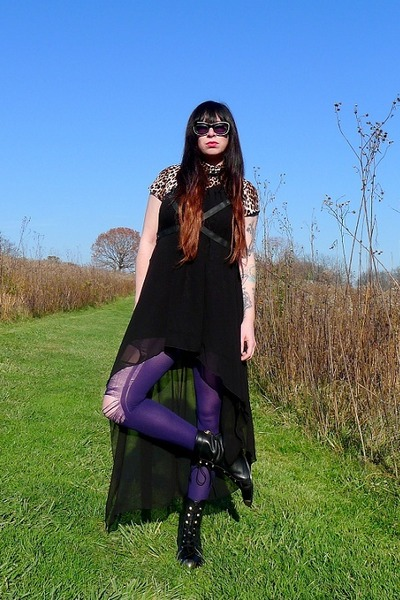 black franca Miista boots - black harness UNIF dress