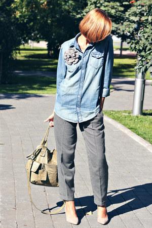 denim shirt H&M shirt - olive green army Topshop bag - checkered asos pants