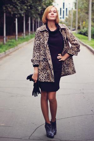 leopard print H&M coat - black retro Oasis dress - snakeskin Oasis heels