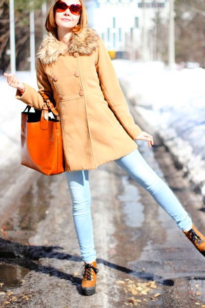 burnt orange asos boots - cream nowIStyle coat - light blue Uniqlo jeans