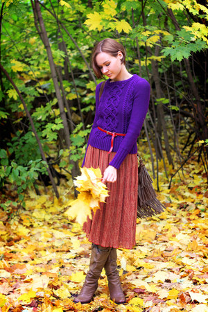 deep purple knit and cute sweater - dark brown fringe Oasis bag - asos skirt
