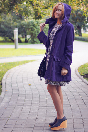 deep purple hoodie Oasis coat - leopard print Emily and Finn dress