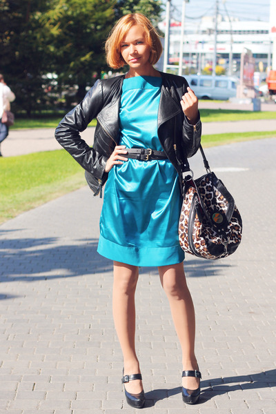 black rocker Vero Moda jacket - teal atlas self-made dress