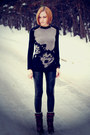 Animal-print-asos-sweater-black-leather-nowistyle-leggings