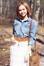 Brown-oasis-bag-white-chicwish-skirt-brown-zara-heels-zara-taylor-bracelet