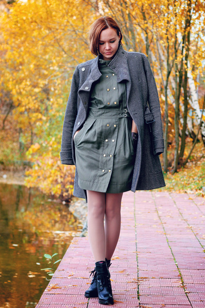 black Aldo boots - army green French Connection dress - Topshop coat