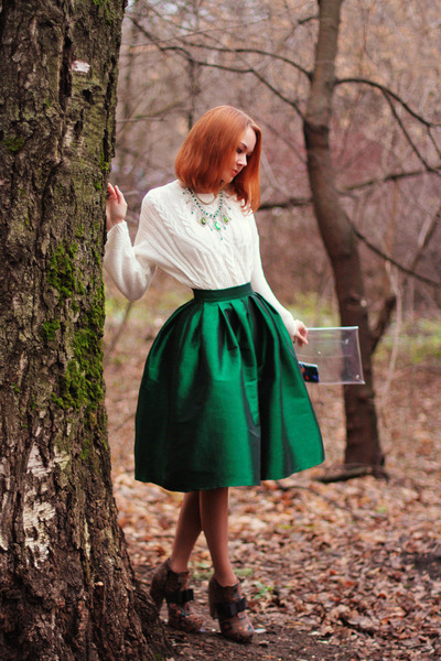 Choies skirt - Chicwish sweater - Count the sheep bag - Dualshine necklace
