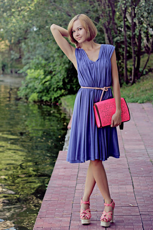 light purple silk Selected dress - hot pink River Island bag