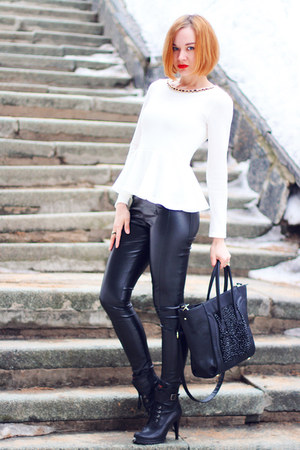 black nowIStyle bag - white nowIStyle top - black asos pants