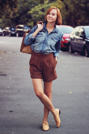 blue jeans H&amp;M shirt - Zara bag - brick red suede Mango shorts