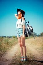 Topshop hat - Topshop bag - Topshop shorts - Topshop heels - Topshop top