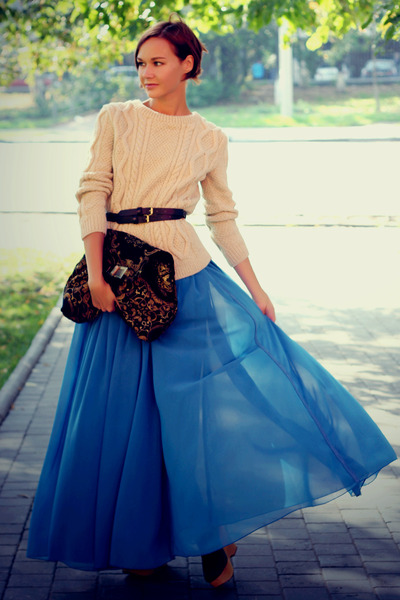 blue maxi skirt asos skirt - cream knitted knit and cute sweater