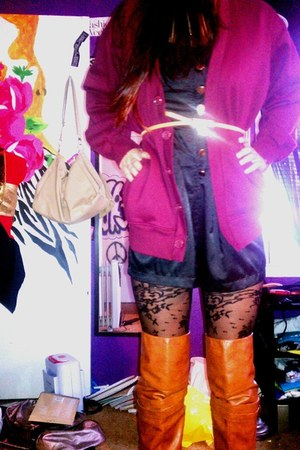 burnt orange boots - black tights - black romper - crimson cardigan