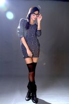 black random from Hong Kong boots - blue Paperbag Vintage dress