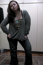 black Dorothy Perkins jeans - gray cardigan banana republic sweater - brown chee