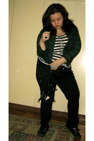black Advan shoes - green thrifted jacket - landmark top - black skinny Dorothy