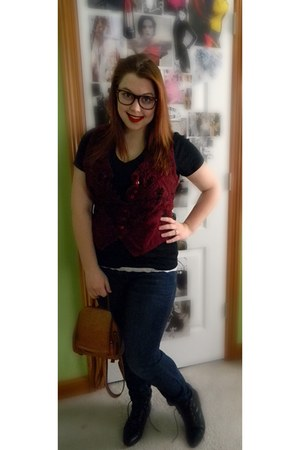 Dollar Store Brand accessories - vintage vest - Medona t-shirt - Aria Jeans jean