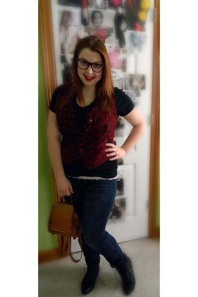 Dollar Store Brand accessories - vintage vest - Medona t-shirt - Aria Jeans jean
