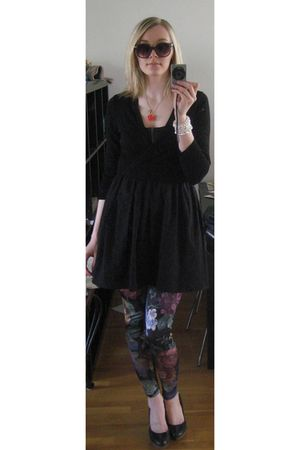 black Topshop dress - Topshop cardigan - black Topshop leggings - black blendshe