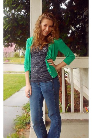 navy Forever 21 blouse - American Eagle jeans - chartreuse Old Navy cardigan