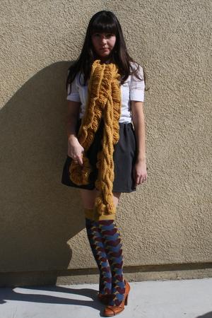 gold Anthropologie scarf - brown seychelles shoes - purple Anthropologie socks