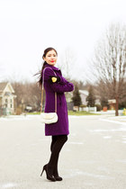 purple Jcrew coat - white Marc by Marc Jacobs bag - black Guess heels
