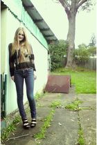 black bardot sweater - black Rubi shoes shoes - blue Lee jeans - silver  necklac