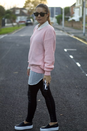 Topshop jeans - light pink Chiara fashion jumper - Topshop sneakers