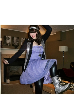 purple H&M dress - silver doc martens boots - black American Apparel leggings -