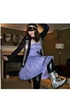 purple H&M dress - silver doc martens boots - black American Apparel leggings -