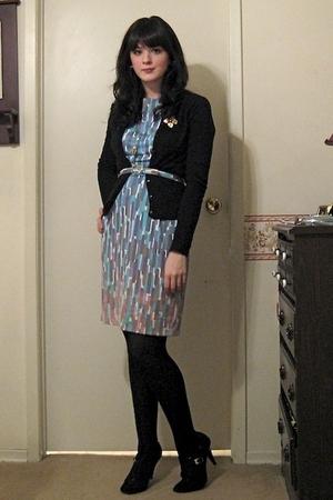 blue vintage from etsy dress - black Bluenotes cardigan - blue same as dress bel