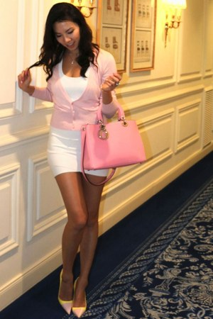 christian dior bag - BCBG dress - christian dior pumps - escada cardigan