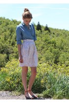 white pleated brocade homemade skirt - blue Gap shirt