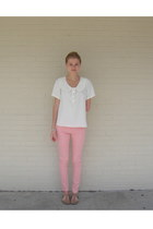 off white homemade blouse - light pink skinny Flying Monkey jeans