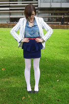 ivory Zara blazer - gold DKNY bracelet - navy navy skirt Girls Express skirt