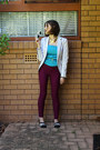 Magenta-target-leggings-off-white-zara-blazer