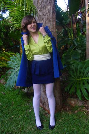 blue blue Mystique coat - lime green green silk Lisa Ho blouse