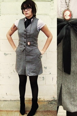 vintage vest - vintage skirt - Maurices blouse - joey boots - accessories
