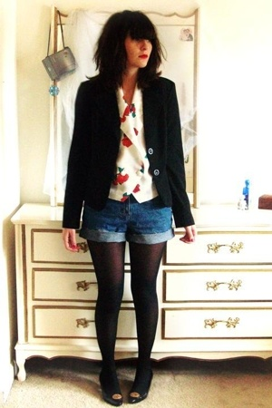 a byer blazer - vintage blouse - K-mart shorts - stockings - sesto meucci shoes