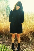 vintage jacket - vintage YFSC Basics dress - Qupid boots